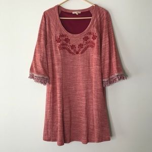 Red Embroidered Dress Size Large